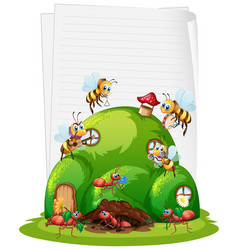 blank paper with ant nest and bees isolated vector image