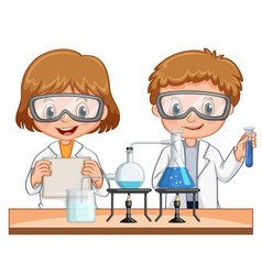 Boy and girl do science experiment together vector