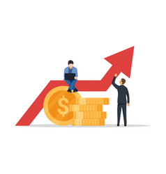 business growth graph successful business people vector image