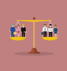 businessman and businesswoman balancing on scales vector image