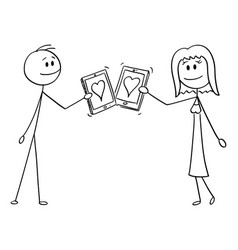 Cartoon couple man and woman on date with vector