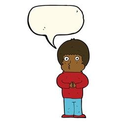 Cartoon shy boy with speech bubble vector