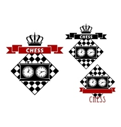 Chess symbols with clocks on chessboard vector image