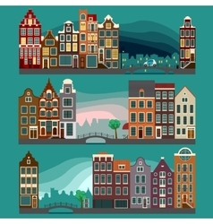 City Streets with Old Buildings vector image