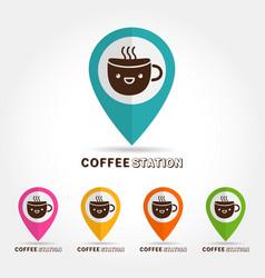 coffee cute cup logocofee station concept vector image
