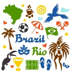 Collection brazil stylized objects and cultural vector