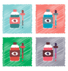 Collection of flat shading style icons eye drops vector