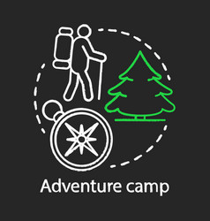 Country adventure trekking camp chalk concept vector