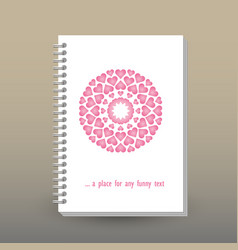 Cover of diary notebook pink heart mandala vector
