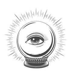 crystal ball with eye vector image