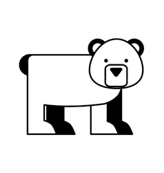 Cute bear character icon vector