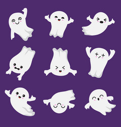 Cute kawaii ghost halloween scary ghostly vector