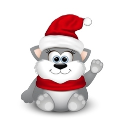 Cute kitten in Santa hat vector image