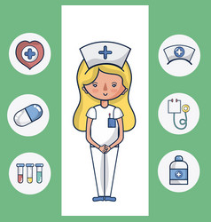 Cute nurse woman cartoon vector