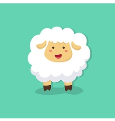 Cute Sheep in Tosca Green Background vector image