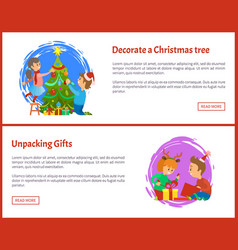 Decorating christmas tree and unpacking gifts web vector
