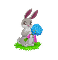 Easter bunny holding a spring flower bouquet vector