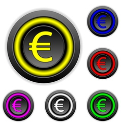 Euro buttons set vector image