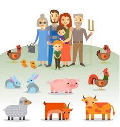 Farmers family with domestic animals vector