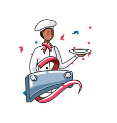 Female chef worker with metal label labor day vector
