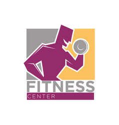 Fitness center or gym club sport icons set vector