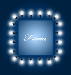 Frame of luminous light bulbs - theatre poster vector