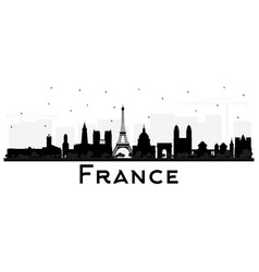 France skyline silhouette with black buildings vector