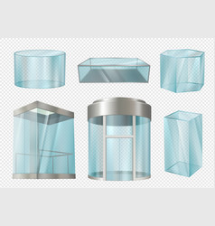 Glass cylinders transparent showcases stands in vector