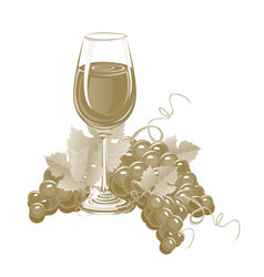 Glass of wine and a bunch of grapes vector
