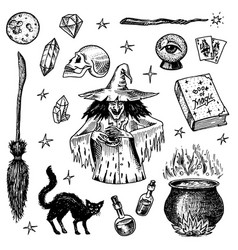 Halloween elements magic ball witch with book of vector