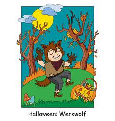 halloween in werewolf costume vector image