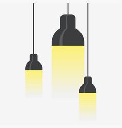 Hang ceiling cone lamp set vector