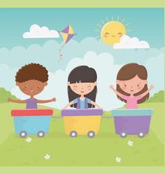 Happy childrens day girls and boy playing with vector