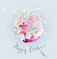 happy easter - template with easter floral egg vector image
