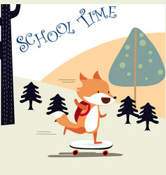 Happy fox boy back to school vector