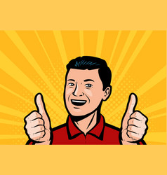 Happy man or businessman showing thumbs up retro vector