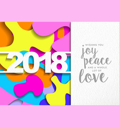 Happy new year 2018 color cutout greeting card vector