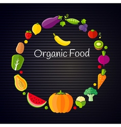 Healthy eating concept with flat fruits vector image