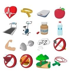 Healthy lifestyle cartoon icons vector