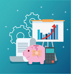 Infographic financial recovery with icons vector