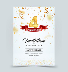 Invitation card template 4 years anniversary vector