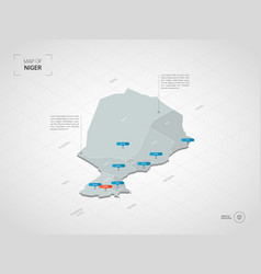 isometric niger map with city names and vector image