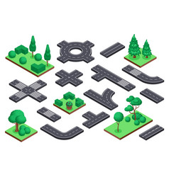 isometric road and nature elements asphalt street vector image