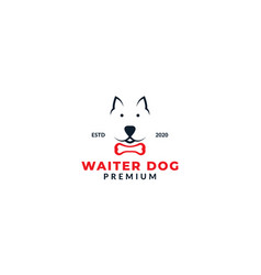 Jack russell terrier dog face with bone logo vector