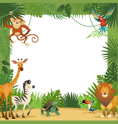 Jungle animals card frame animal tropical leaves vector