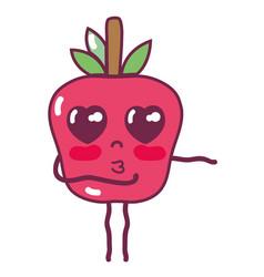 Kawaii cute tender apple fruit vector