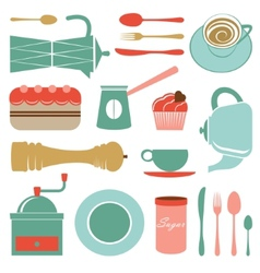 Kitchen set in soft colors vector