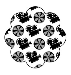 label with movie camera projector and reel film vector image