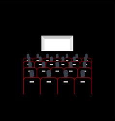 Lecture hall in cinema people sit on armchairs vector