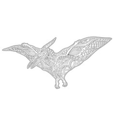 Line art for coloring book page with pterodactyl vector